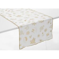Chemin de table blanc et or...