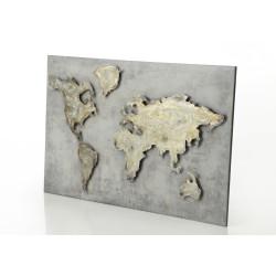 Plaque grise en métal world