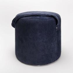 Tabouret velour cotelé bleu...