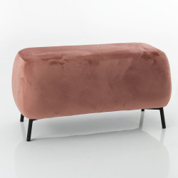 Pouf rectangle en velours rose