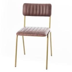 Chaise cuir marron et gold...