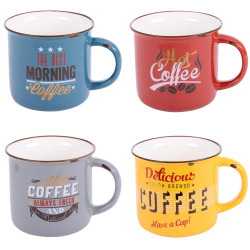 Coffret 4 mugs vintage 35 cl