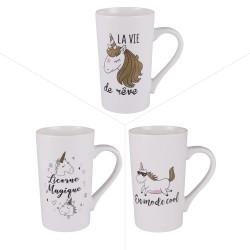 Mug licorne 50 cl (lot de 3)