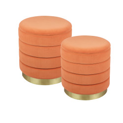 Set de 2 poufs orange bibum...