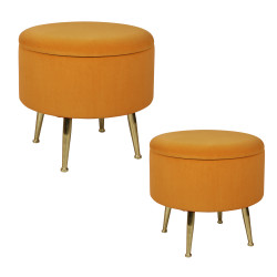 Set de 2 poufs orange sur...