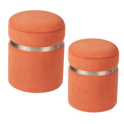 Set de 2 poufs orange 36 et...
